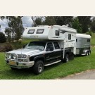 Laredo Northstar slide on camper pictured on dual cab Chevy
